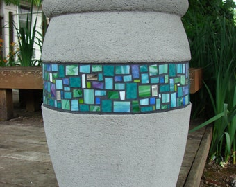 Hand-Carved Concrete & Mosaic Planter/Fountain