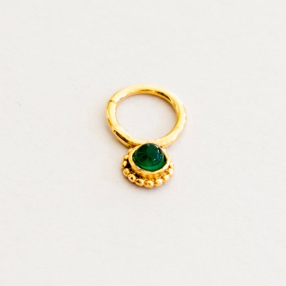 onyx flower gold septum ring 16g septum ring tribal septum
