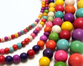 Round Multicolour Howlite Stones, 3,4,6,8,10,12,14mm Semi Precious Stones, Round Gemstone Beads, Colorful Precious Beads, Howlite Beads