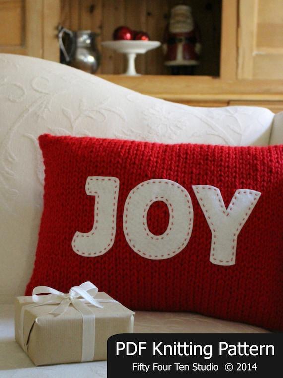 Knitting Pattern Christmas Cushion : Christmas KNITTING PATTERN / Pillow / Joy / Believe / Cushion / Quick Knit / ...