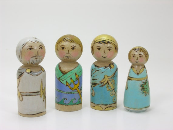 Greek Gods set of 4, painted peg dolls, Greek Mythology, handmade kids toy, wooden kids toy, mythological toy