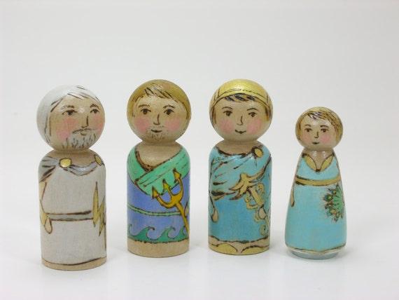 Greek Gods set of 4, painted peg dolls, Greek Mythology, handmade kids toy, wooden kids toy, mythological toy