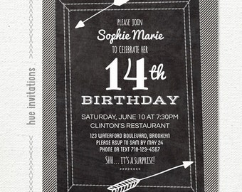 chalkboard 14th birthday party invitation, stripes arrows teen girls birthday party invite, modern printable party invitation, 5x7 822