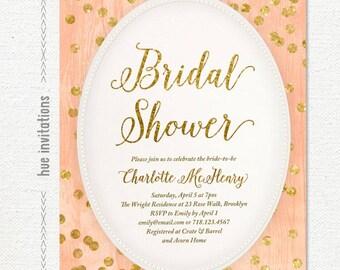 coral bridal shower invitation, gold glitter bridal shower invite, peach gold confetti printable digital invitation 5x7 jpg or pdf file s68