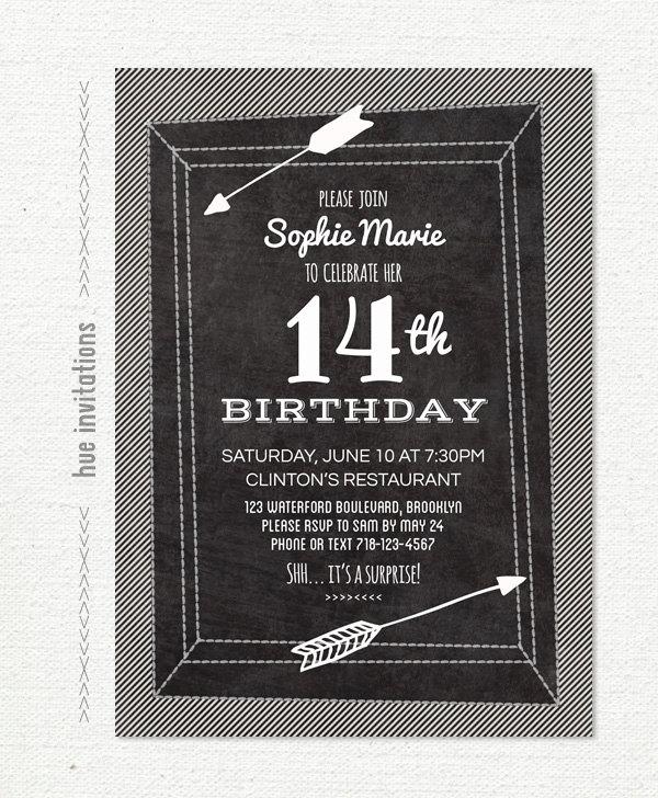 chalkboard 14th birthday party invitation stripes arrows teen – 14th Birthday Invitations