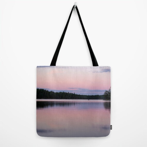Reusable Bag, Pink and Purple, Book Tote, Teacher's Gift, Small Bag, Large Purse, Travel Tote, Carryall Bag, Boundary Waters, Lake Photo