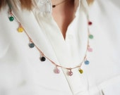 Multi-colored gems colorful necklace - Delicate necklace leather thread and vintage copper chain