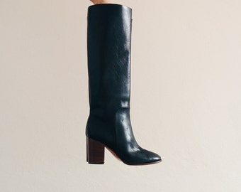 Céline high knee leather boots, round toe with wooden heels