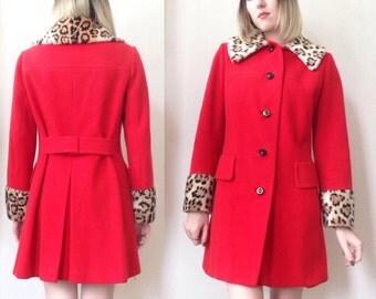 Vintage red leopard faux fur trim coat S