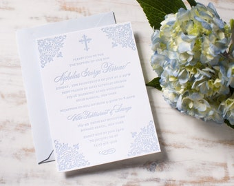Baby Boy Christening | Letterpress Christening Invitation SAMPLE