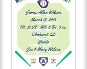 Baseball Birth Announcement Baby Nursery Poster Personalized