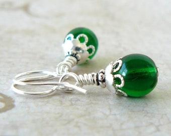 Emerald Green Earrings, Kelly Green Bead Earrings, Vintage Style, Fairytale Inspired Jewelry, Beaded Dangles, Holiday Jewelry