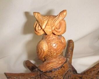 Vintage Hand Carved Wooden Owl 1976