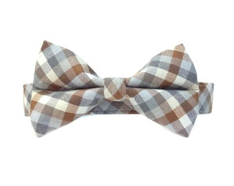 Brown and Grey Checkered Gingham Bow Tie Dog Collar Set- Removable Bowtie