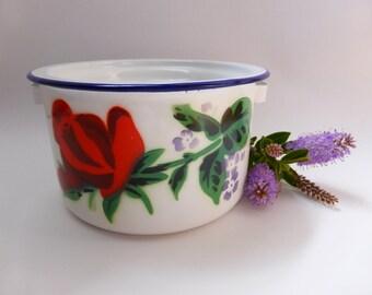 Vintage Bumper Harvest Enamel Pot ~ Rustic Decor ~ Farmhouse ~ Mid Century ~ Cottage Chic ~ Country Kitchen ~