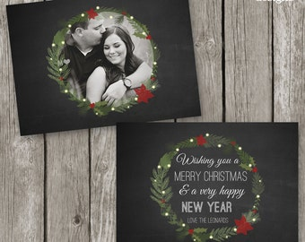Chalkboard Christmas Card Template - Christmas Photo Card with Wreath Design - Photography Christmas Card for Photographers - CC40