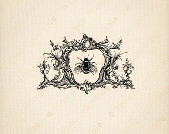 Vintage Honey Bee in ornate frame - Instant download digital printable image clipart - fabric transfer - iron on to fabric, burlap etc