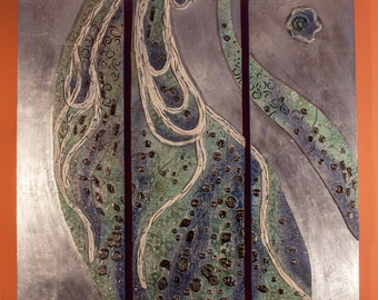 "As the River flows - ceramic on wooden board. Aluminium leaves 79"" x 47"". Sculpture-painting."