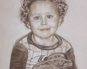 Child Portrait Painting,  Custom Portrait  from Photo,  Personalized  Hand Drawn  Portrait Commission