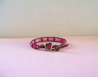 Heart and Pink, Rose, Red, Fuchsia Quartz Gemstone Beaded Leather Wrap Bracelet
