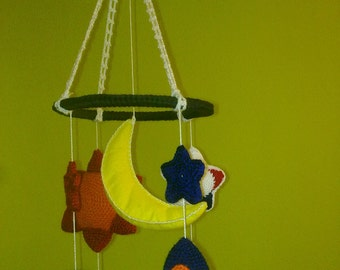 mobile crib toys, Rocket, Sun, Planet, Mobile, Blue, Yellow, Orange, rocket ship mobile, space ship mobile, planet mobile