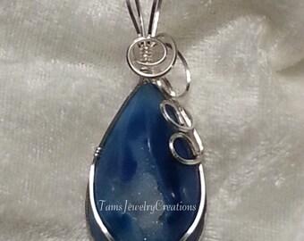 Blue Druzy Gemstone Wire Wrapped Pendant