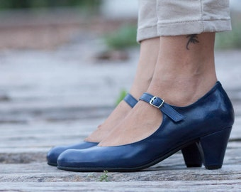 Blue Leather Shoes, Blue Pumps, Heeled Leather Pumps, High Heel Shoes , Free Shipping