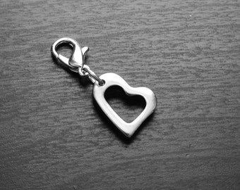 Silver Heart Dangle for Floating Lockets-Stainless Steel-GIft Ideas for Women
