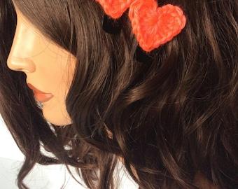 Crochet Heart Hair Clips Set of 3, Valentine's Day Heart Hair Clips, Crochet Hair Accessories for Women Teens or Girls