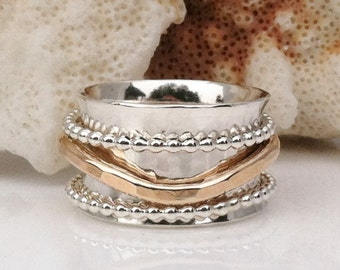 Gold Ring, Silver Ring, Mixed Metal Ring, Thumb Ring, Silver and Gold Ring, Silver Band, Stacking Ring, Artisan Jewelry