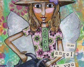 Inspirational art, angel art, angel painting, personalized art, folk art, wall decor, home decor