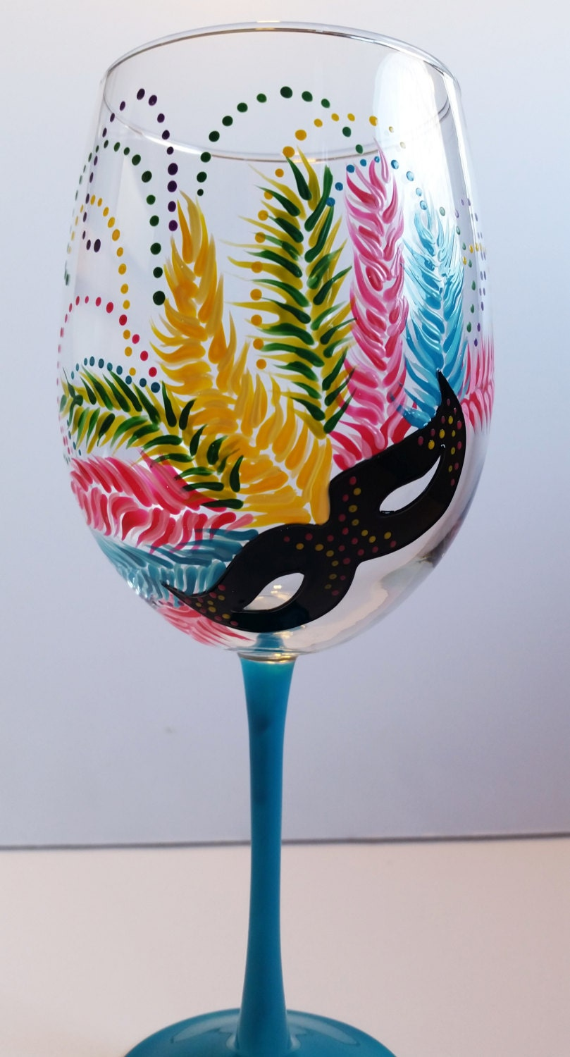 Mardi gras wine glasses hand painted masquerade masks for Hand painted glassware