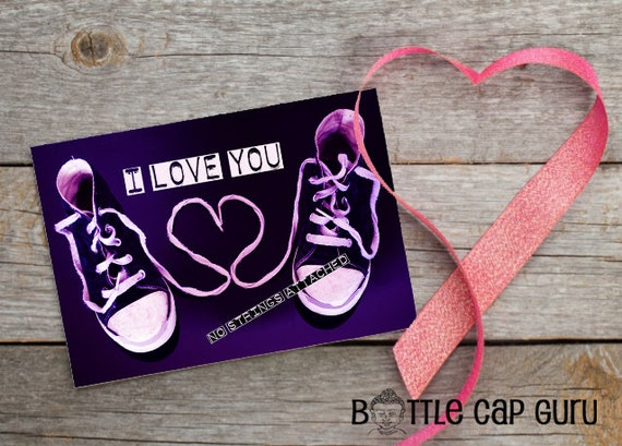 I Love You No Strings Attached Shoelace Heart Greeting Card – No Strings Attached Valentines Card