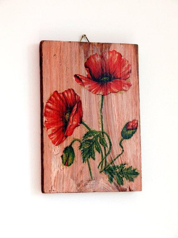 Red Poppy Wall Decor : Red poppy wall decor rustic flower art
