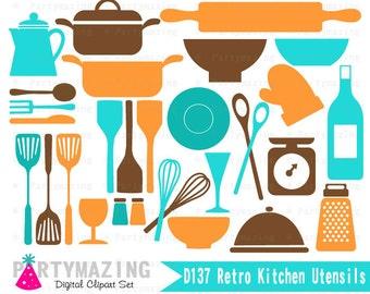 Retro Kitchen Clipart Set, retro Kitchen Utensils Clip Art Graphic Set, Instant Download -D137