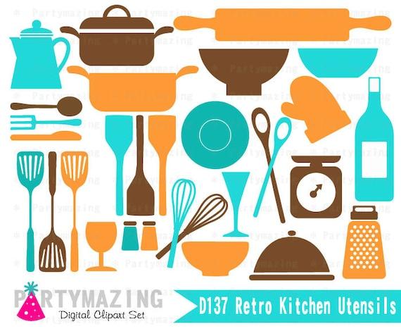 Retro Kitchen Clipart Set retro Kitchen Utensils Clip Art
