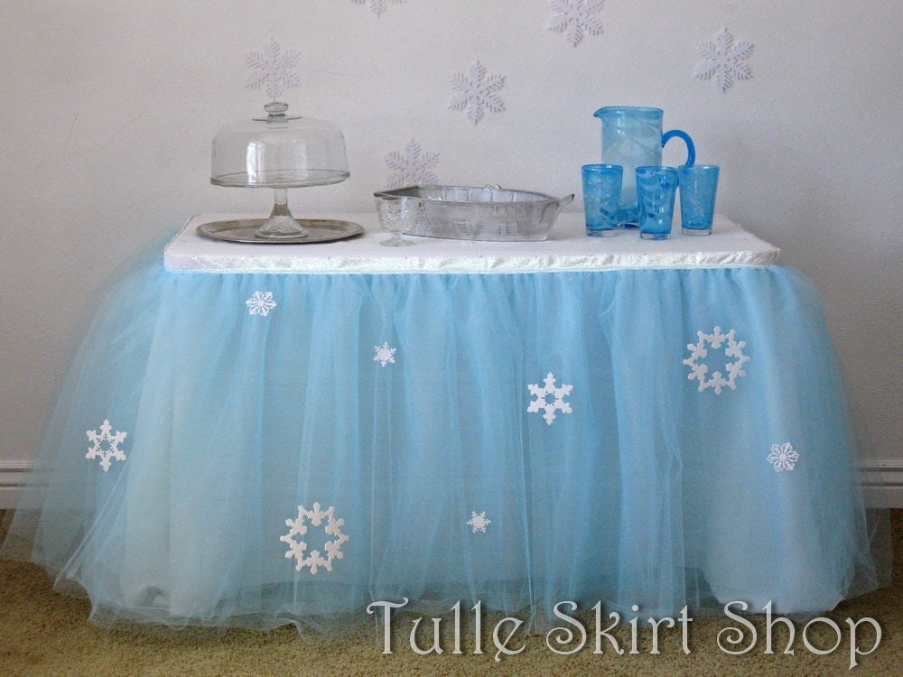 frozen tulle table skirt blue tutu tableskirt for