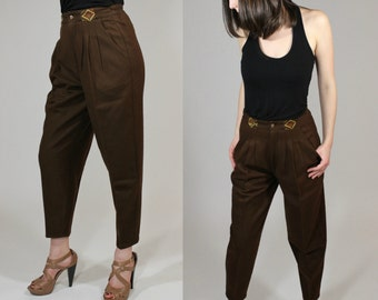 Vintage 1980's Brown High Waisted Harem Wool Brown Pleated Capris / Cropped Pants with Geometric Detail