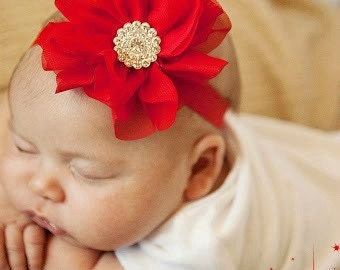 Newborn Christmas Headband Red Rhinestone Headband Take Home Accessories Going Home Christmas Outfit Infant Headband Baby Shower Gift