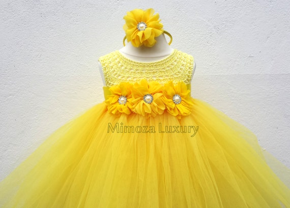 The Beauty and the Beast Belle dress, tutu dress Belle princess dress, silk crochet top tulle dress Daffodil dress in yellow