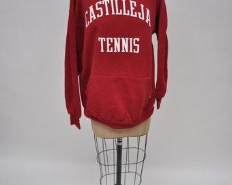 vintage hoodie CASTILLEJA TENNIS hooded sweatshirt 1990 oversized boyfriend fit