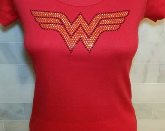 Super Hero Wonder Woman Rhinestone Design on a Fitted Scoop Neck, V-Neck, Crew Neck or Tank Top Women's Bling-A-Tee Bling Tee Shirt