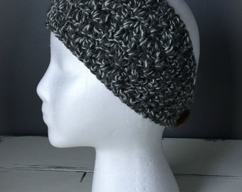 Crochet Wrap Around Ear Warmer- Dark Grey/White Marble