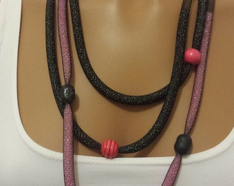 Necklace and Bracelets and Tubular Pink