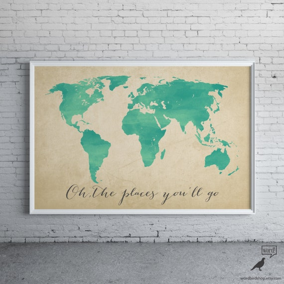 Watercolor map oh the places youll go inspirational like this item gumiabroncs Images