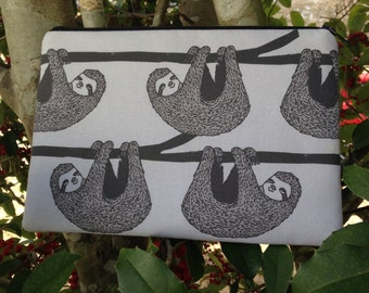 Sloths Fabric Zipper Pouch, Pencil Case, Coin Pouch, Coupon Holder, Make Up Bag