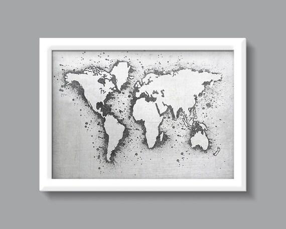 monde carte aquarelle impression noir et blanc imprim. Black Bedroom Furniture Sets. Home Design Ideas