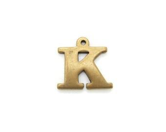 Vintage Solid Brass Letter K charm pendant, Brass Alphabet Initial, 1pc