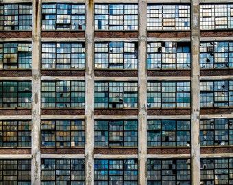Abandoned Photography, Connecticut, Abstract Art ,Broken Windows, Industrial Decor, Small Wall Art