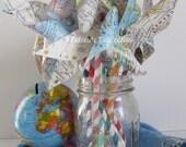 Map Pinwheels, Baby Shower Decor, Party Decor, Nursery Decor, Travel Decor